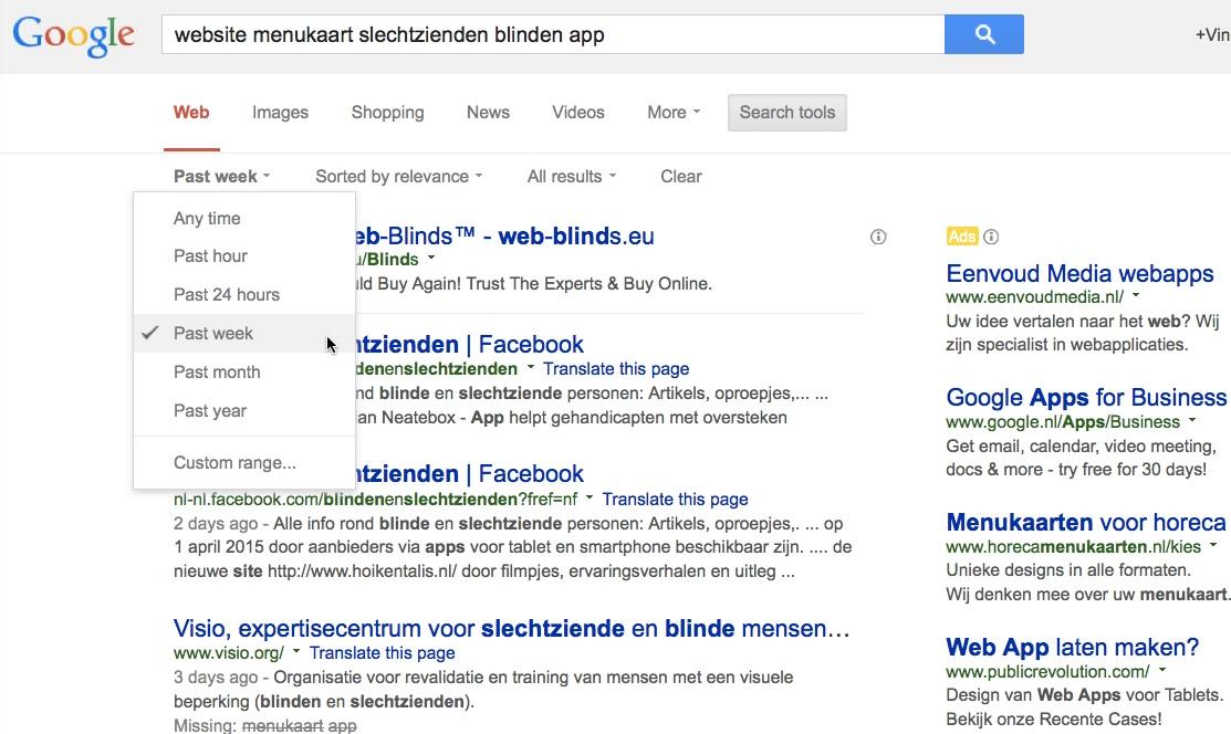 google zoeken periode aanpassen